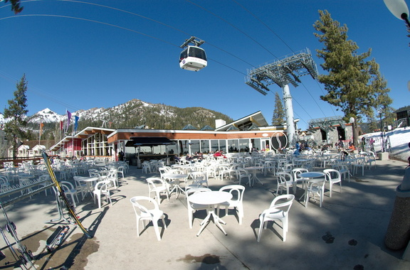 A very nice heated patio at Olympic House at the main base of Squaw