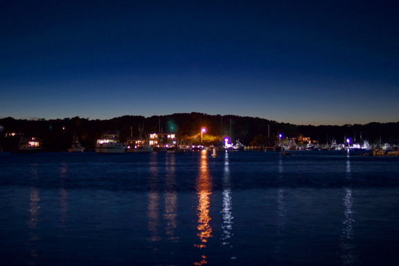 Oak Bluffs Harbor by night