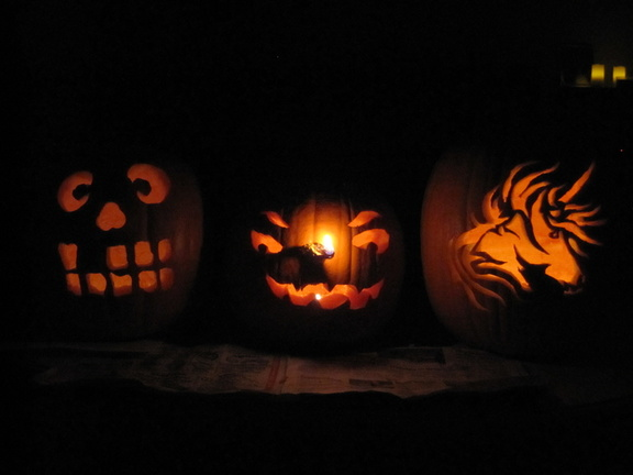 three jack o'lanterns